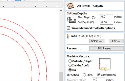 Settings in the 2D Profile Toolpath Menu