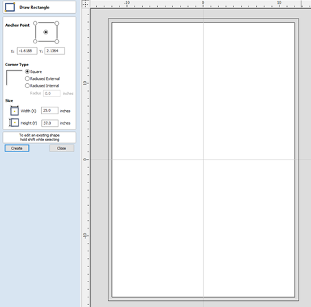 Draw Rectangular Shape in the software