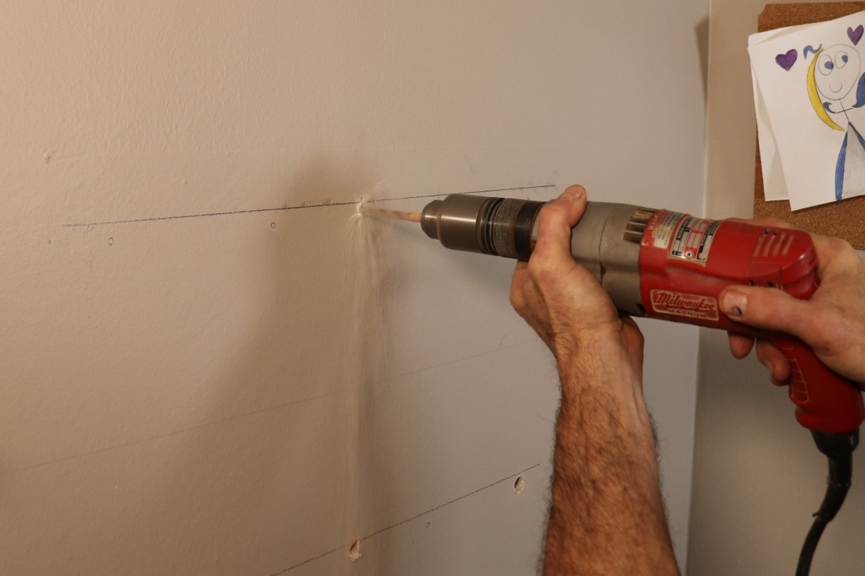 Drill holes on the wall