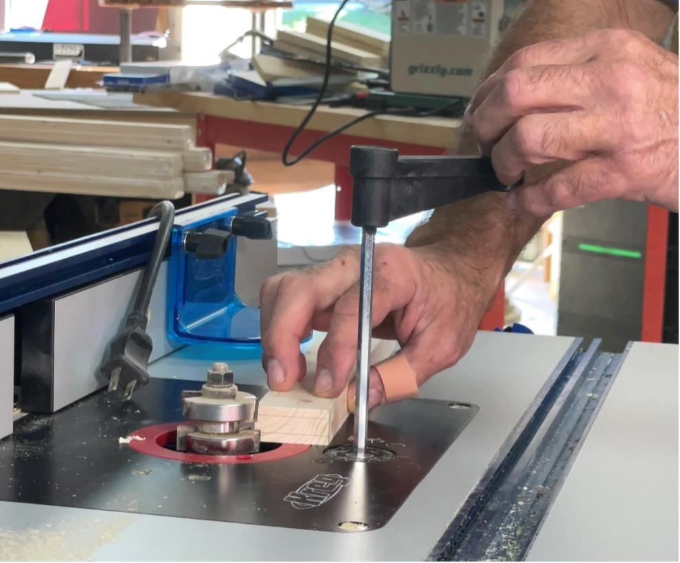 installing the tongue cutter onto the router table