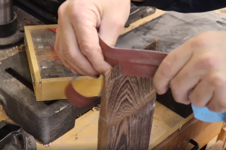 sanding the woodworking project
