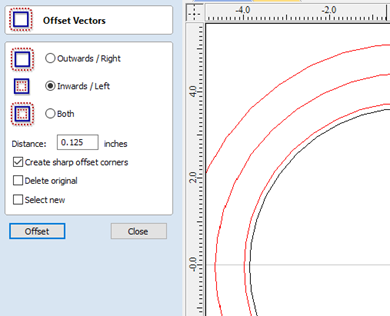 Changing settings in the Offset Vectors Tool Menu