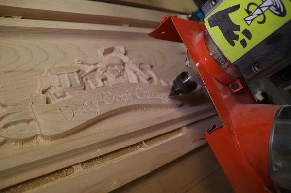 Finished text carved by CNC