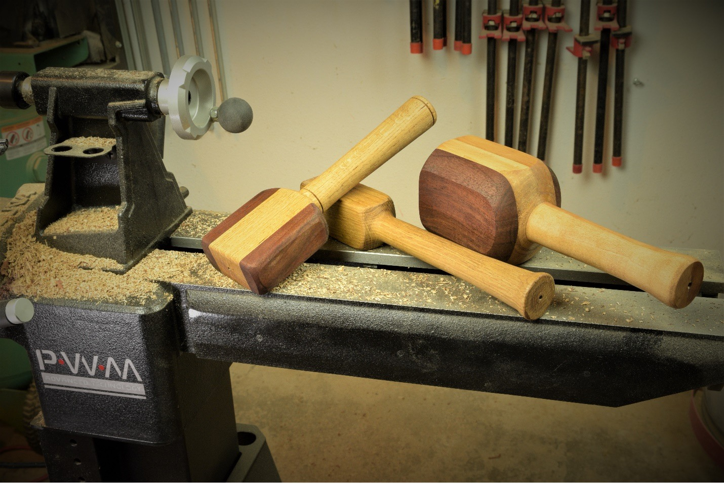 finishing touches on the mallets and adding stain