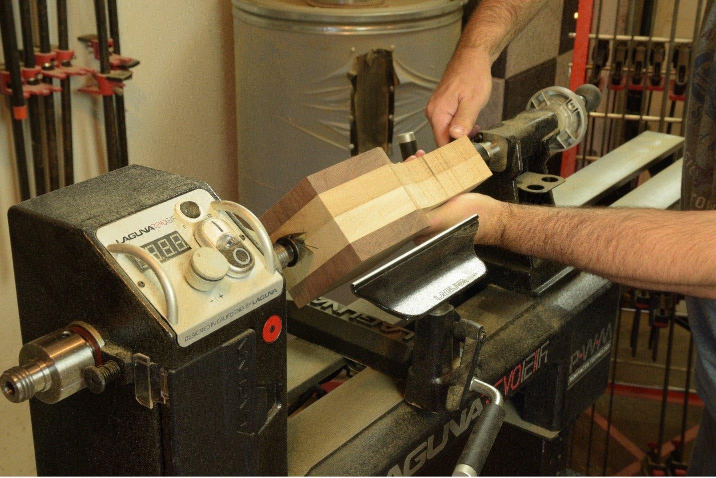 mounting mallet on wood turning lathe
