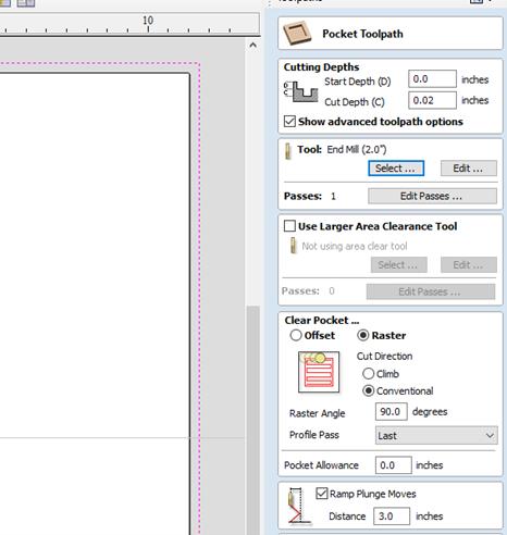 Pocket toolpath menu and options