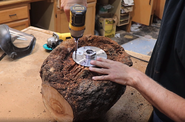 installing a faceplate onto cherry burl