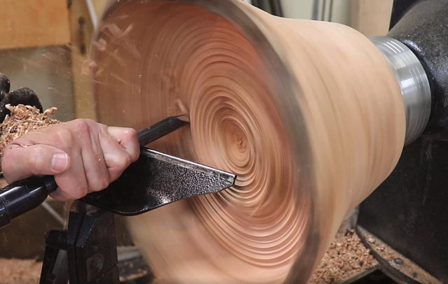 carving the interior of the burl of wood