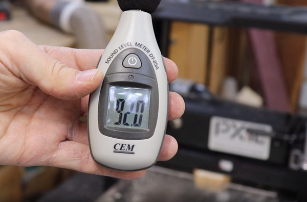 Sound level meter reflects a 92 decibel frequency