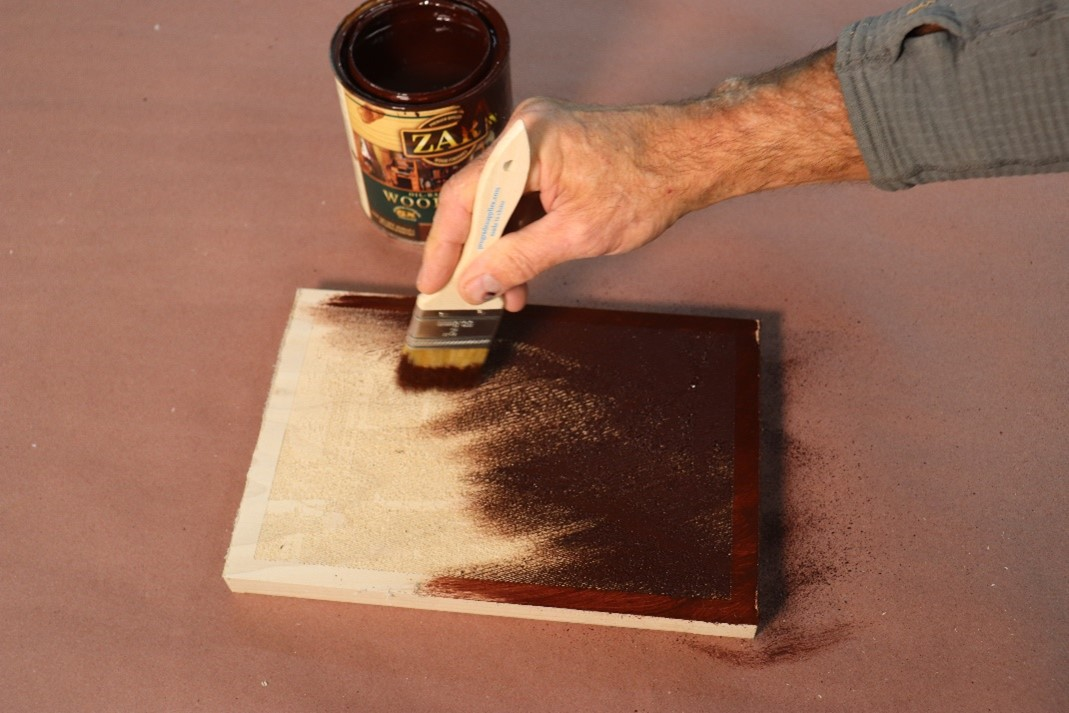 adding contrast to the wood project with stain