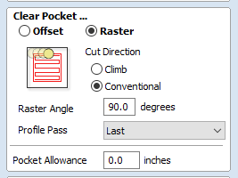 after previewing toolpath make changes by setting raster angle