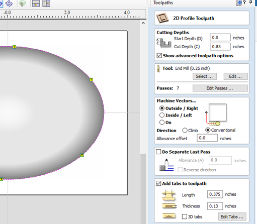 clicking 2d profile toolpath menu