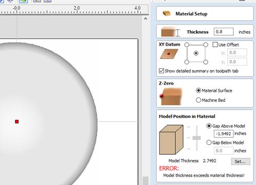 material setup menu