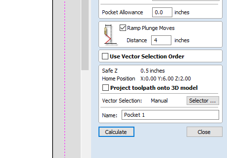 selecting the ramp option and setting the length
