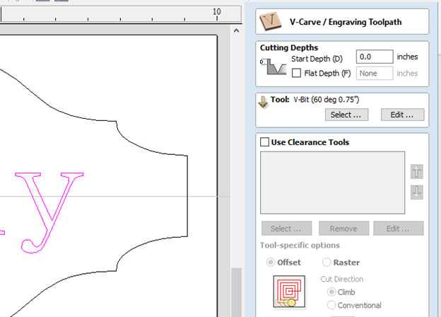 selecting the v carve engraving toolpath