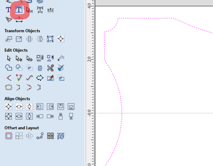 slecting the adequate software tool to add text within the vector
