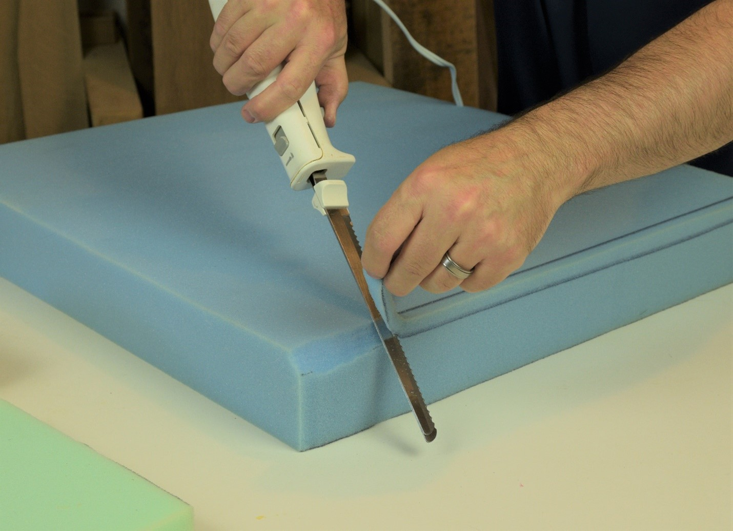 slicing medium to firm foam with a knife