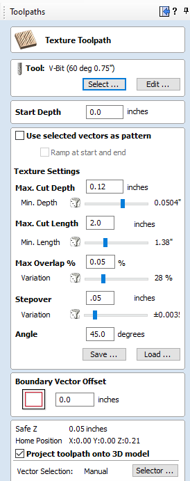 texture toolpath measurements