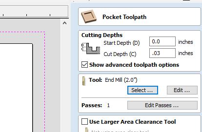 under the pocket toolpath menu input depth measurements