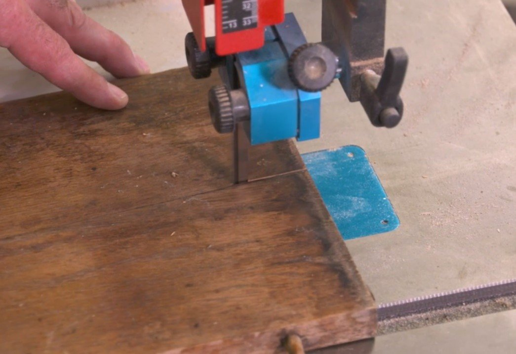 using a 14 12 bandsaw to cut the leaf