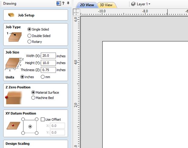 vcarve pro software job setup menu